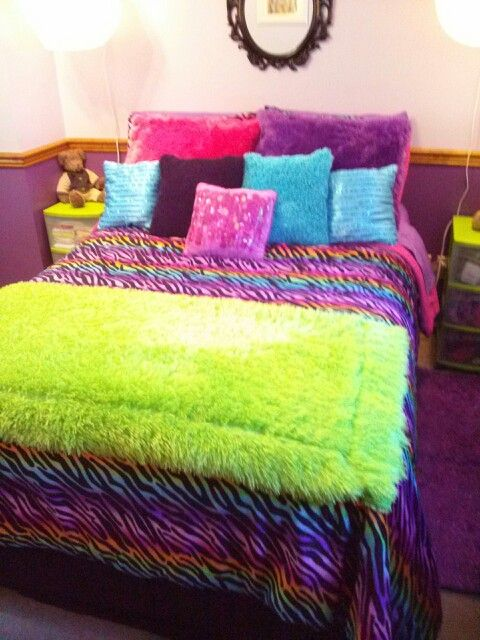 Rainbow zebra bedroom
