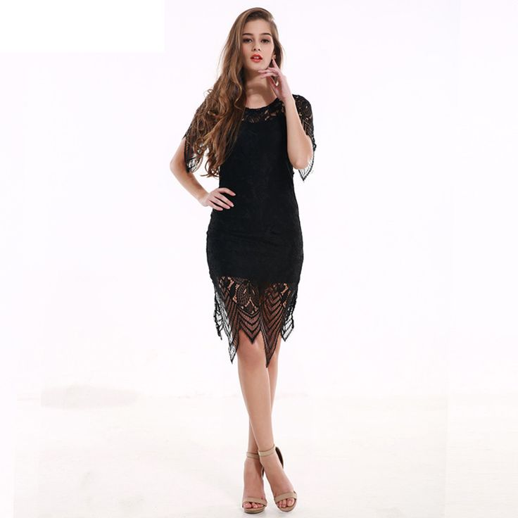 Summer Womens Dresses Beach Club Evening Party Sexy Sundress Backless Black Lace Floral Crochet Short Dress Female Clothing