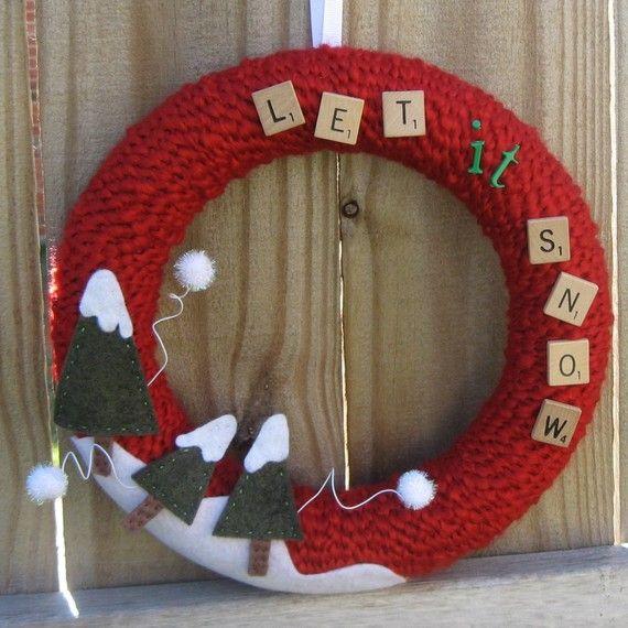 Let it Snow Wreath www.bourdiers.etsy.com