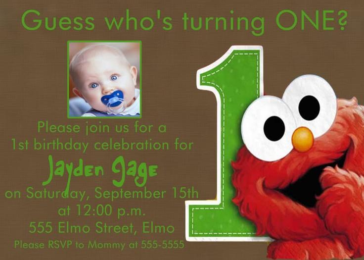 elmo party invitation | Danek´s 1st birthday | Pinterest