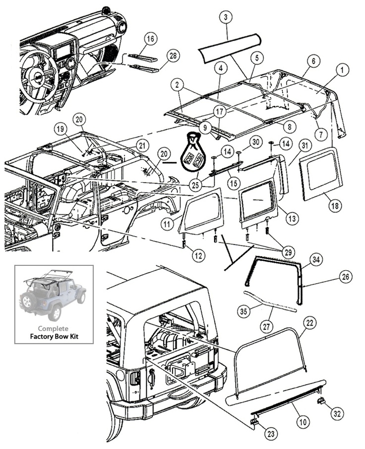 JK Unlimited soft top hardware   Jeep Tech   Jeep wrangler