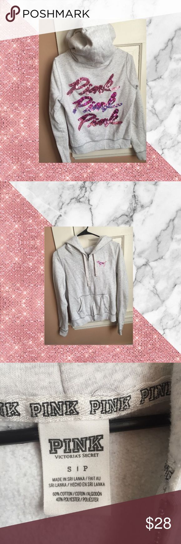 VS Bling Zip-up Hoodie Pre loved VS PINK Zip-up hoodie. Size: Small Light grey zip up hoodie with pink/iridescent sequin on front and back. Two patches of bleach spots on hood but can barely see them. PINK Victoria's Secret Tops Sweatshirts & Hoodies