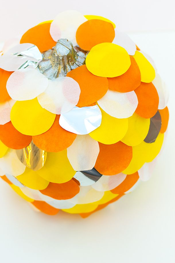 Make an untraditional pumpkin with this vivid scalloped paper pumpkin tutorial by Sarah Hearts. Doesn't this remind you of a holiday version of The Rainbow Fish?