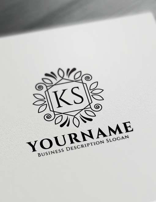 Free Vintage Floral Logo Creator – Letter Logo Decor Maker