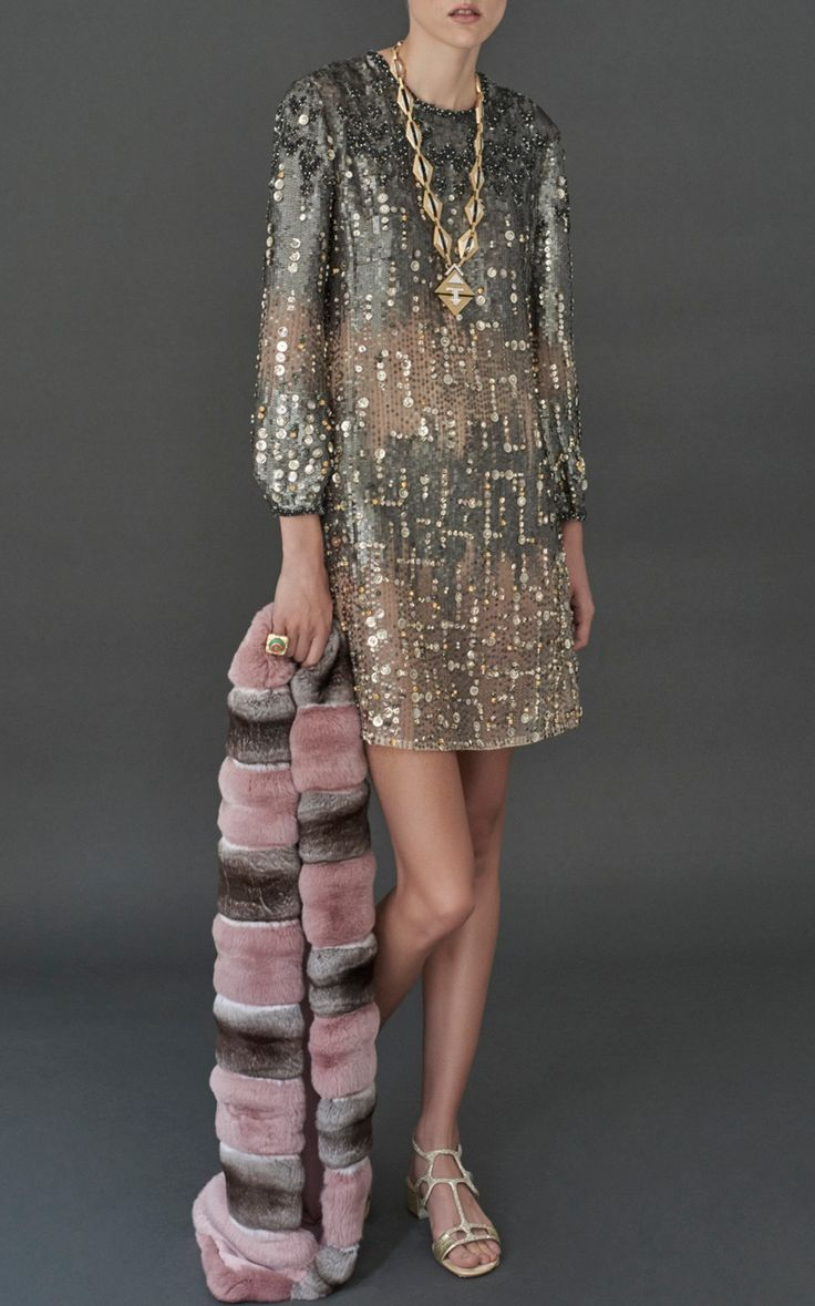 Long Sleeve Embroidered Mini Dress by J. Mendel