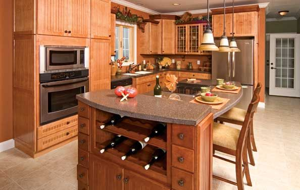 Island all one height, take out the wine rack Modular Homes Idea Gallery - All American Homes