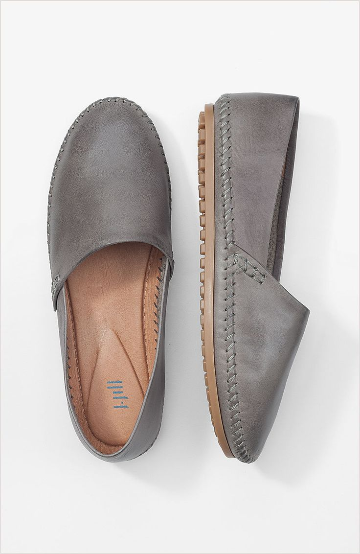 Topstitched Slip Ons In Slate Grey From J Jill Wearable
