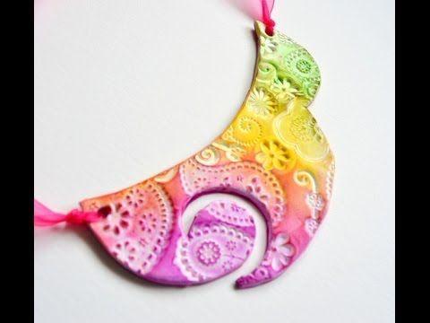 Collar babero en arcilla polimérica y tizas pastel - Polymer clay and chalk pastels bib necklace - YouTube