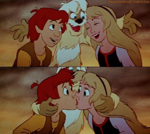 Tha Black Cauldron kiss -- Taran, Gurgi, and Eilonwy
