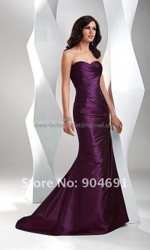 Strapless Mermaid Evening Dress Prom Dress Long Black Taffeta Red Blue Gry Purple Bridesmaid Dress