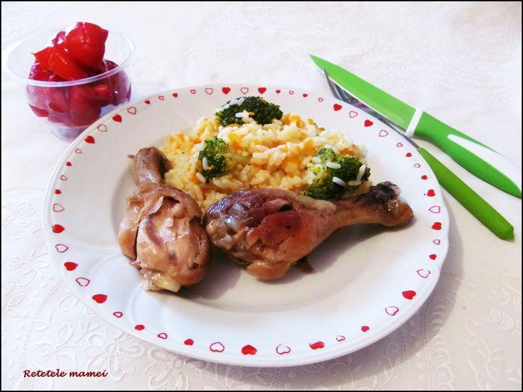Garnitură de orez și broccoli