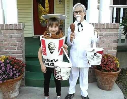 CRACKED ME UP! This is to funny but what a cool couple costume idea! Colonel Sanders and a bucket of KFC!  #Couples #Halloween #Costumes