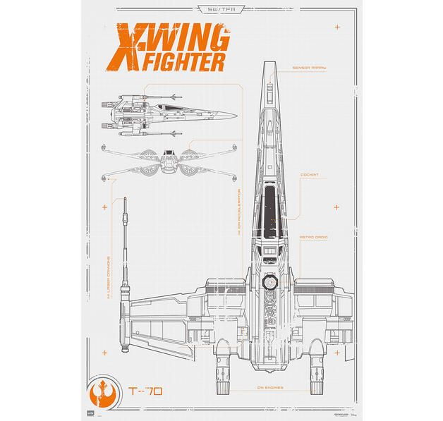 The 88 best posters images on pinterest film posters cinema star wars episode 7 poster x wing fighter blueprint hier bei malvernweather Gallery