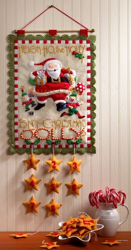 Bucilla Heigh Ho Santa ~ Felt Christmas Advent Calendar Wall Hanging Kit #86098