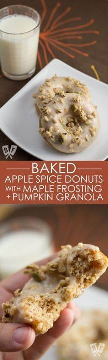 Baked Apple Spice Do Baked Apple Spice Donuts with Maple...  Baked Apple Spice Do Baked Apple Spice Donuts with Maple Frosting and Pumpkin Granola (#ad): Crunchy granola is a perfect topping for these apple  Greek yogurt infused baked donuts. A great breakfast or dessert recipe to use your fall apple bounty! #StonyfieldBlogger Recipe : http://ift.tt/1hGiZgA And @ItsNutella  http://ift.tt/2v8iUYW