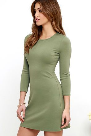 Perfectly Posh Olive Green Long Sleeve Dress at Lulus.com!