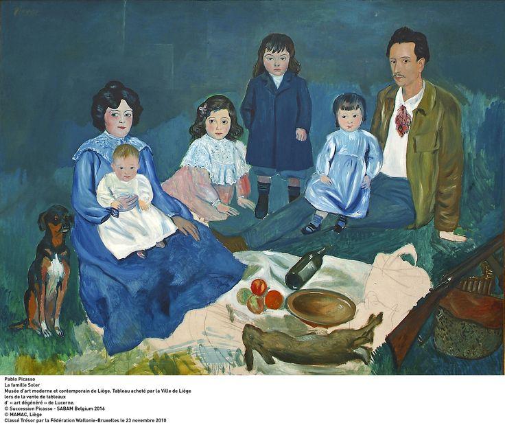 Pablo Picasso - La Famille Soler  Tableau exposé à l'exposition 21 rue La Boétie à Liège jusqu'au 19/02/2017  #Exhibition #Painter #Picasso #Liege #Belgium #LaBoverie
