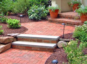 448 best images about walkway ideas on pinterest stone for Brick steps design ideas