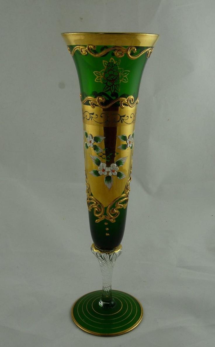 151 best antiques collectibles images on pinterest porcelain vintage bohemian glass trumpet vase with gilt and enamel 75 reviewsmspy