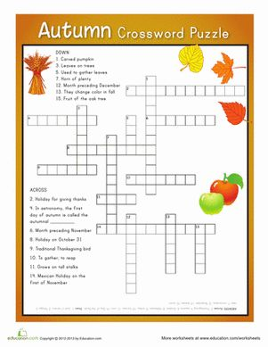 Fall Fourth Grade Puzzles & Sudoku Spelling Worksheets: Autumn Crossword Puzzle