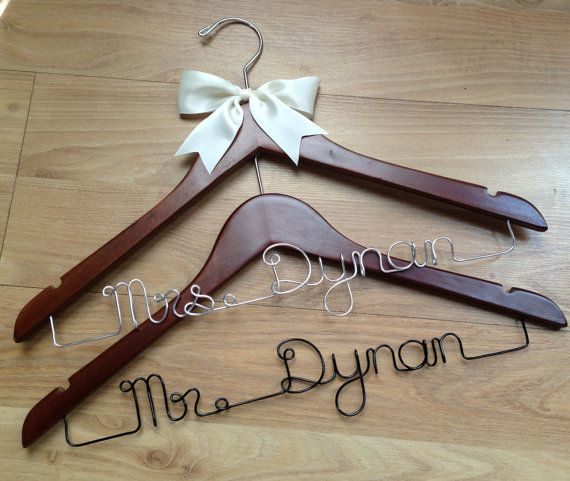 2 personalised wedding hangers for the ultimate bridal shower/engagement or wedding gift by louiseexclusivelyyou, $50.00
