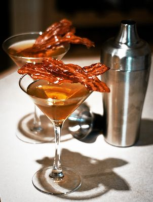 Bacon Apple Martini, maybe  the Maple Crown royal will work with this. I have got to ask for this at a bar some time.