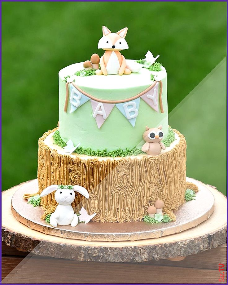 A gender neutral Woodland themed baby shower cake