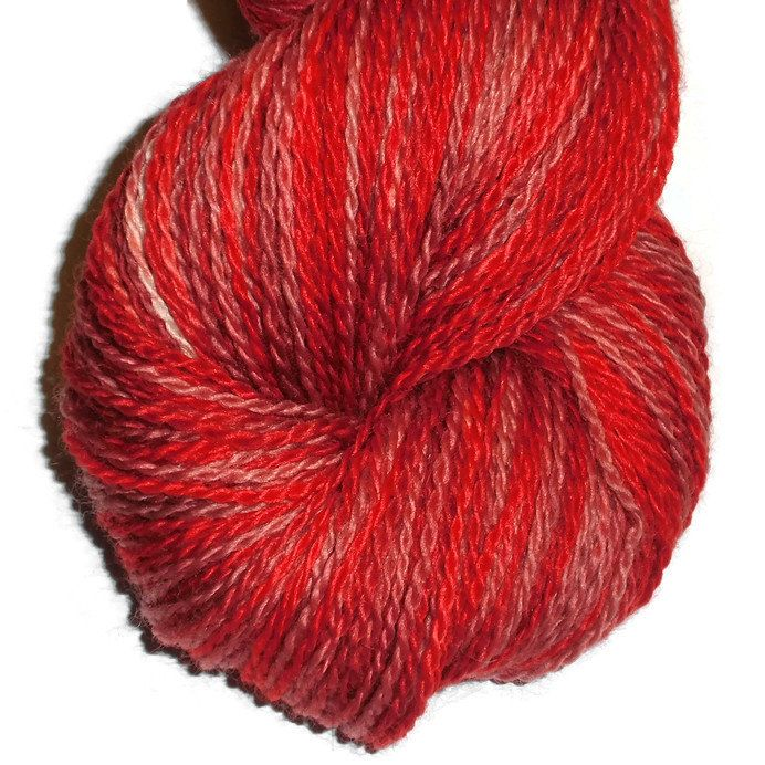 """Hand Painted Bluefaced Leicester Wool Sock Yarn, 2-Ply """"Heartbroken"""""""