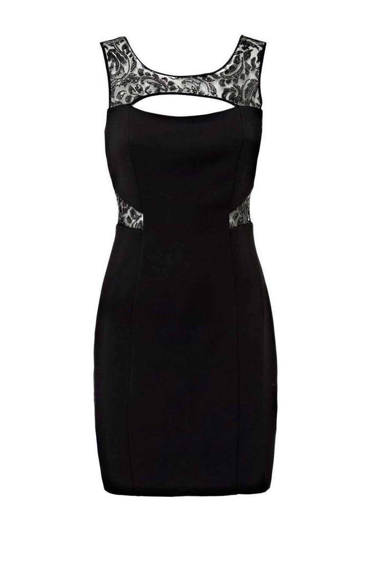 Guess Damen Marken-Skaterkleid schwarz-weiß