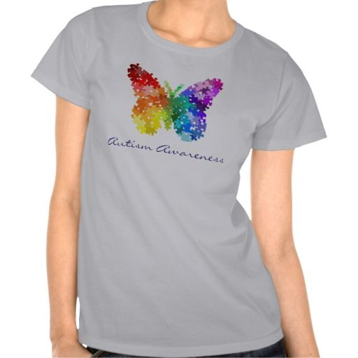 Autism Awareness Rainbow Puzzle Butterfly Tshirts