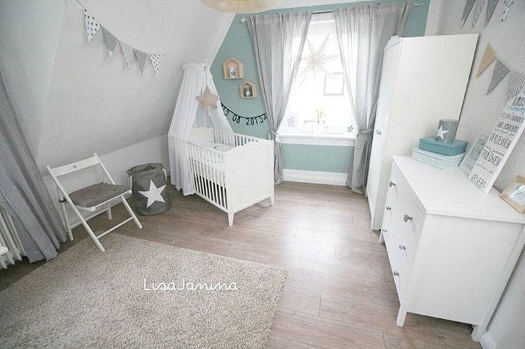 """""""..Und hier das dritte Foto von Lio's Zimmer   #babyboy #babyjunge #Kinderzimmer #kidsroom #babyroom #babyzimmer #deko #weiß #türkis #ikea #ikeababy…"""""""