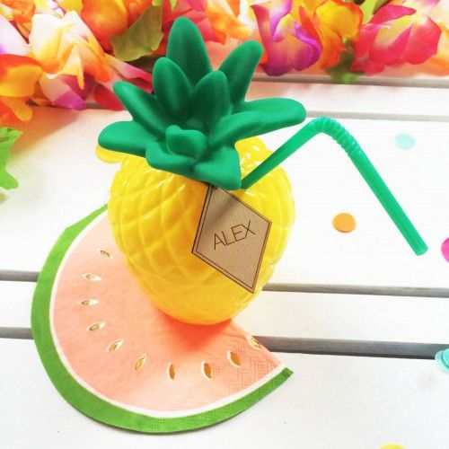 Tropical Party Pineapple Cocktail Cup. Celebrate in true style and raise a pineapple cup to the occasion! Friends and family will love sipping on their fruity drinks presented in these bright tropical plastic cocktail cups, great for beach party and bbqs. These pineapple cups are sold separately, each measuring 14cm tall with a bright green straw. #cup #partycups #tropicalparty #bbq #henparty #pineapple #photobooth #favours #weddingprops #summerparty