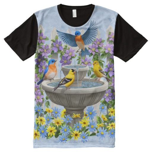 Bluebirds Goldfinches Flower Garden Fountain Blue