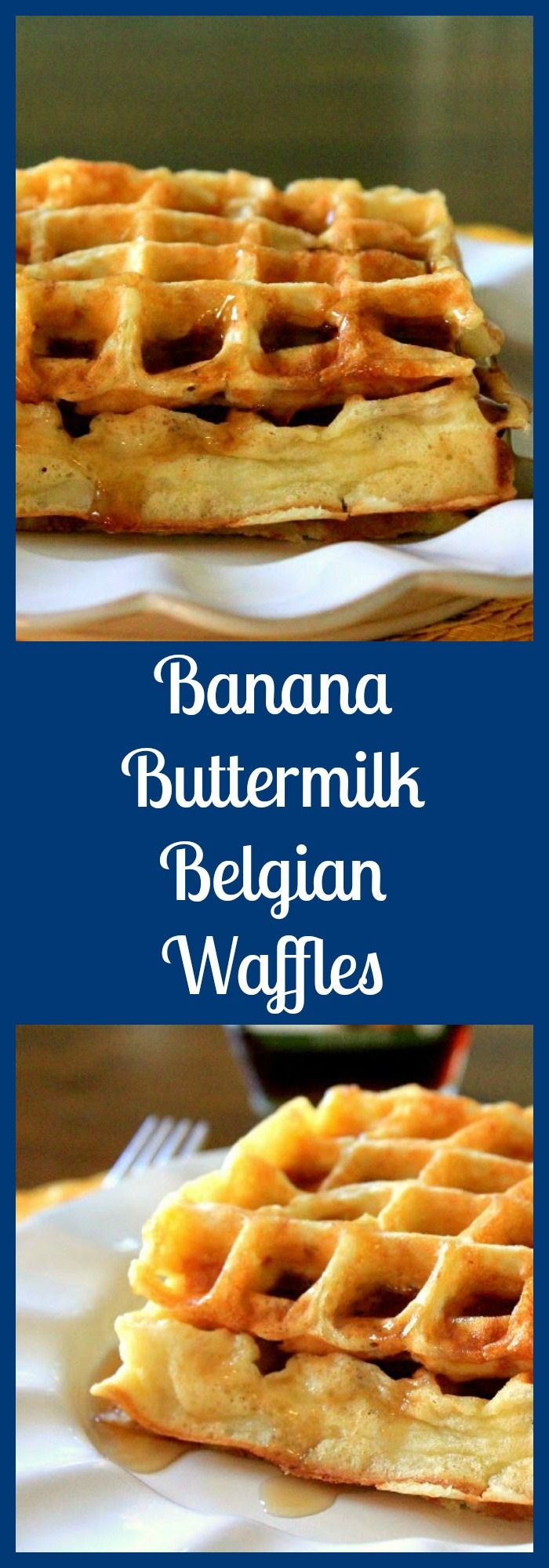 Light and fluffy Belgian waffles filled with bananas, perfect for breakfast any day of the week! From @sarahb73