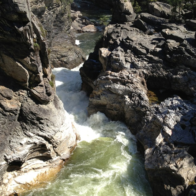 The Kettle River going through the chute above Cascade Falls in Christina Lake, B.C.