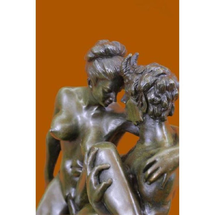 Nude Erotic Art Nude Nymph with Satyr Bronze Sculpture - 3
