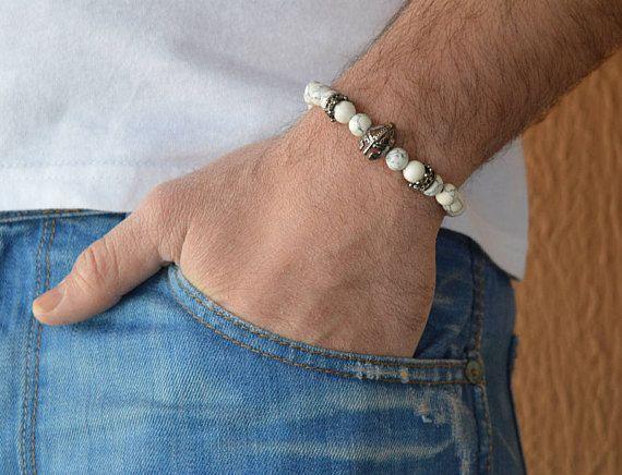 men's bracelet, bracelet for men, men's jewelry, bracelet men, beaded bracelet, howlite bracelet, spartan  bracelet, charm bracelet, yoga