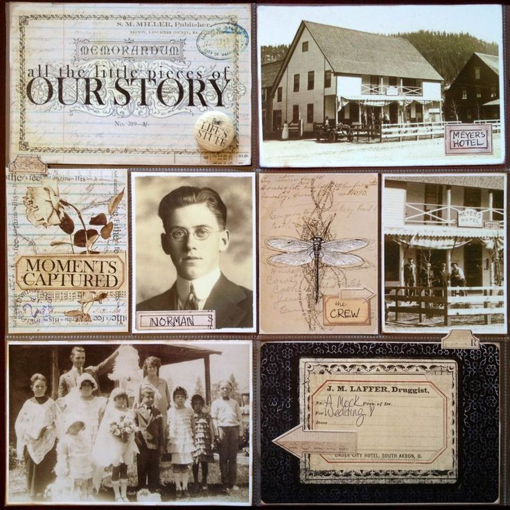 All the Little Pieces of Our Story ~ Simply designed shadow box style page. Love the vintage pharmacy label used for photo ID.