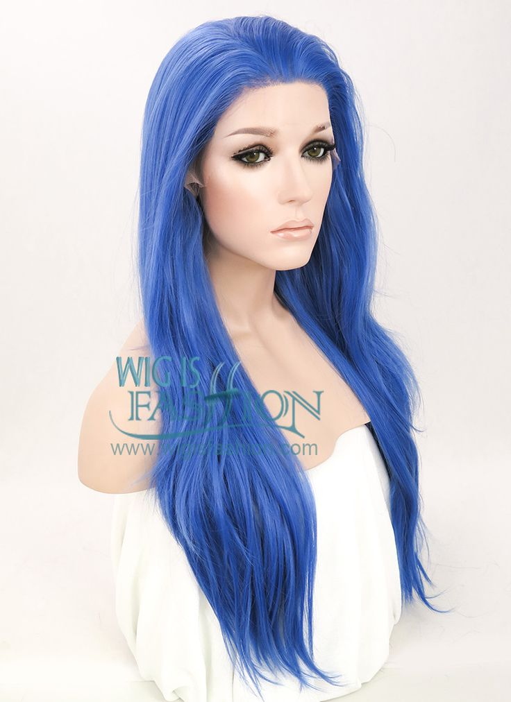 "24"" Long Straight Blue Lace Front Synthetic Hair Wig LF030 - Wig Is Fashion"