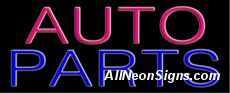 Auto Parts Neon Sign-10013  Auto Parts Neon Sign - From headlights, to taillights and everything in between, you've got the auto parts that drivers and repair shops need everyday. Why not illuminate your much-needed products with this attractive, neon auto parts sign. With the glow of neon pink and blue lettering, it's a softer side to auto parts that may entice both men and women into your shop for their auto parts and accessories.