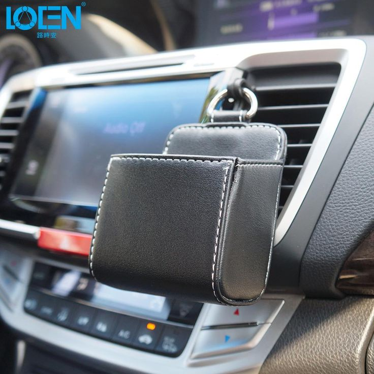 Leather Car Air Outlet Mobile Phone Bag Black White Car Storage Box Multi-use Tools Organizer Box Auto Supplies Keyrings Pockets