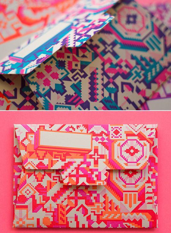 dazzling~: Neon Envelopes, Color Combos, Patterns Textiles Prints, Patches Patterns Prints, Color Envelopes, Envelopes Design, Hungry Workshop, Color Prints, Graphics Patterns