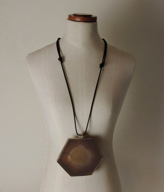 Agates and 925% Silver necklace