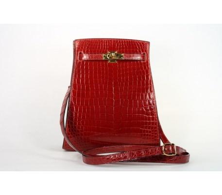 Hermes Rare Rouge H Nilo Crocodile Kelly Sport Shoulder Bag ...