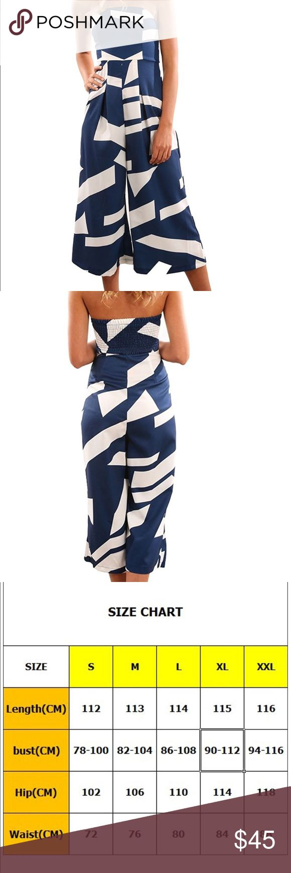 Off The Shoulder Bandeau Jumpsuit Material: spandex blend   Color: multicolor/blue  Size: S/M/L/XL/XXL The jumpsuit with an off the shoulder design that has a padded bust area, invisible zip in the side and all over stunning print which is super easy to style for either day or night! Pants Jumpsuits & Rompers