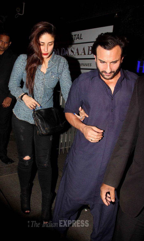 Saif Ali Khan and Kareena Kapoor Khan make their way to their car, snapped exiting the popular restaurant Hakkasan in Bandra.