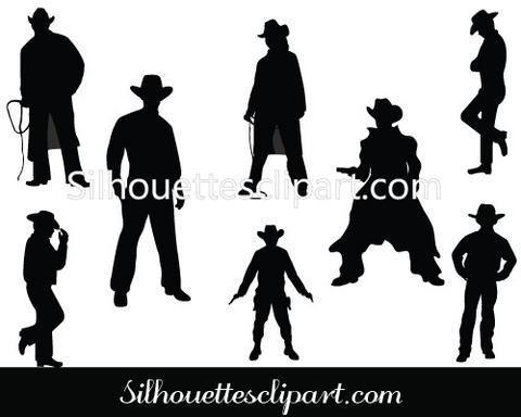 Wild West Cowboy Silhouette Vector Graphics