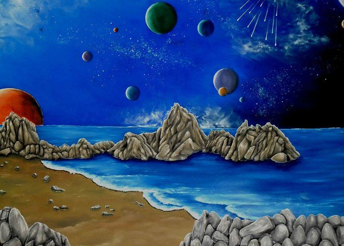 Greeting Card, planets,cosmos,space,universe,world,coastal,scene,dark,night,chaos,cosmic,earth,galaxy,sea,ocean,water,beach,comets,rocks,stones,sandy,fantasy,blue,beautiful,image,painted,contemporary,scenic,modern,virtual,deviant,awesome,cool,artistic,for,sale,items,ideas