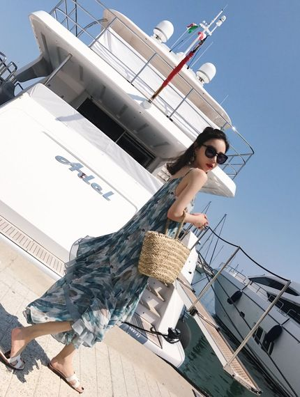 새로운 도착 느슨한 V 넥 꽃 무늬 쉬폰 드레스 여성 여름에게 2017 새로운 해변 스커트 드레스 해변 리조트 슬링