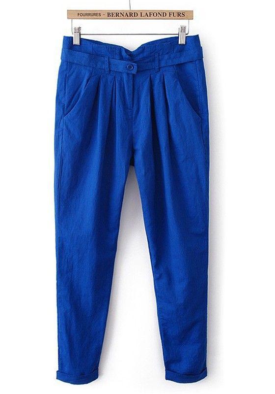 ++ Dark Blue Button Fly Belt Linen Cotton Pants